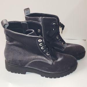 Mossimo Gray Velvet Combat Boots